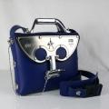Hi Tek blue leather cross body bag medium size unusual unique