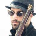 oval gold sunglasses unisex Steampunk style model HT-35053