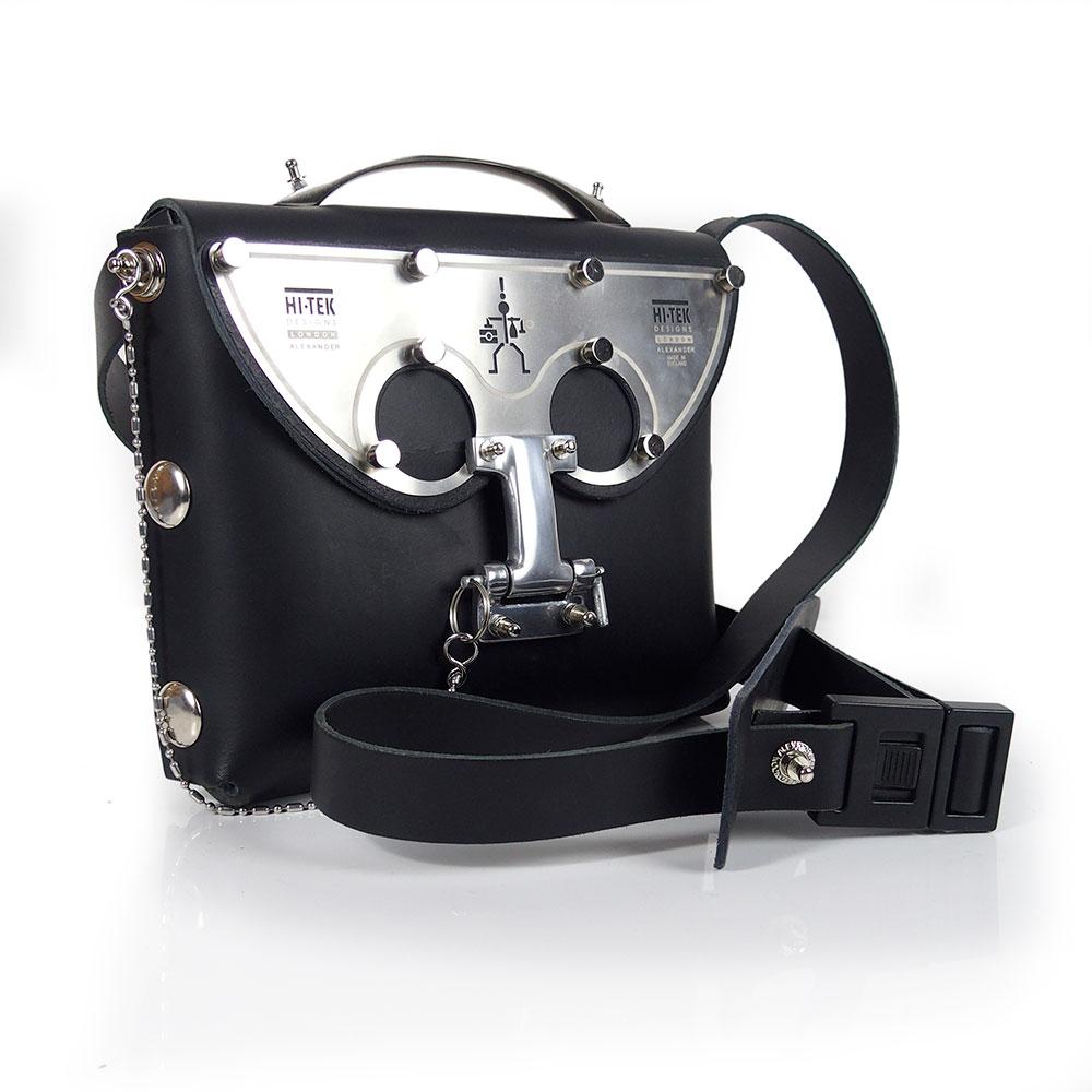 black leather cross body bag, statmeent bag, futuristic ...