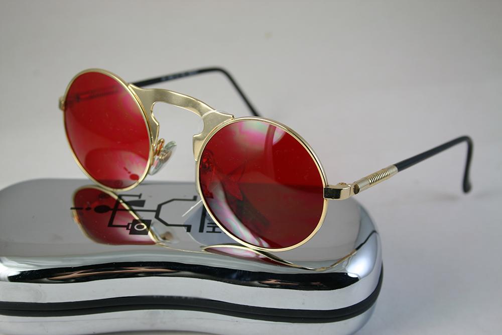 Round Sunglasses Gold Metal Frame Red Lens Hi Tek Ht 006