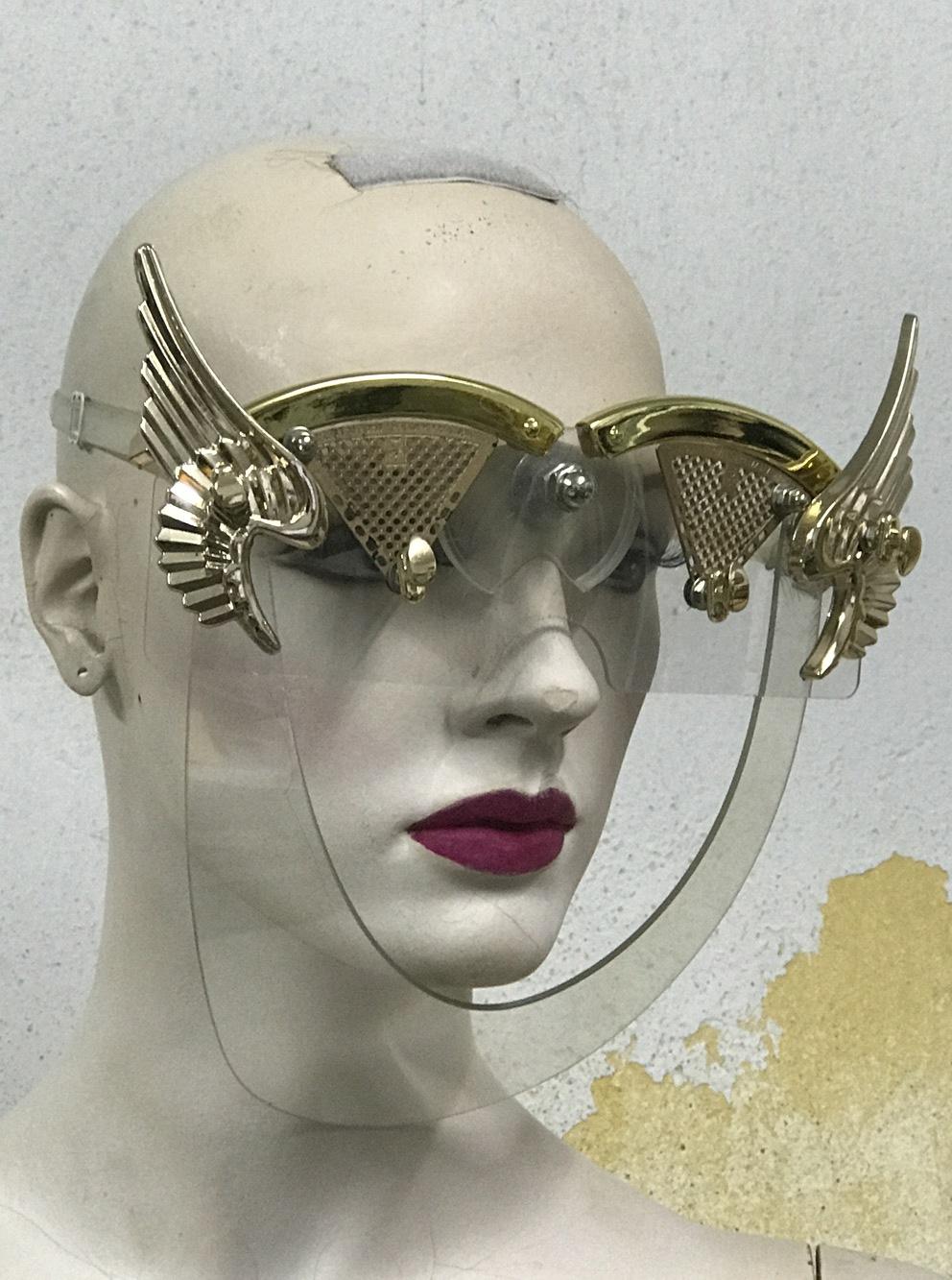 eyewear mask with wings, gold angel wings Hi Tek | Hi Tek
