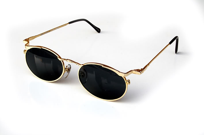 round oval gold metal sunglasses lenses Hi Tek