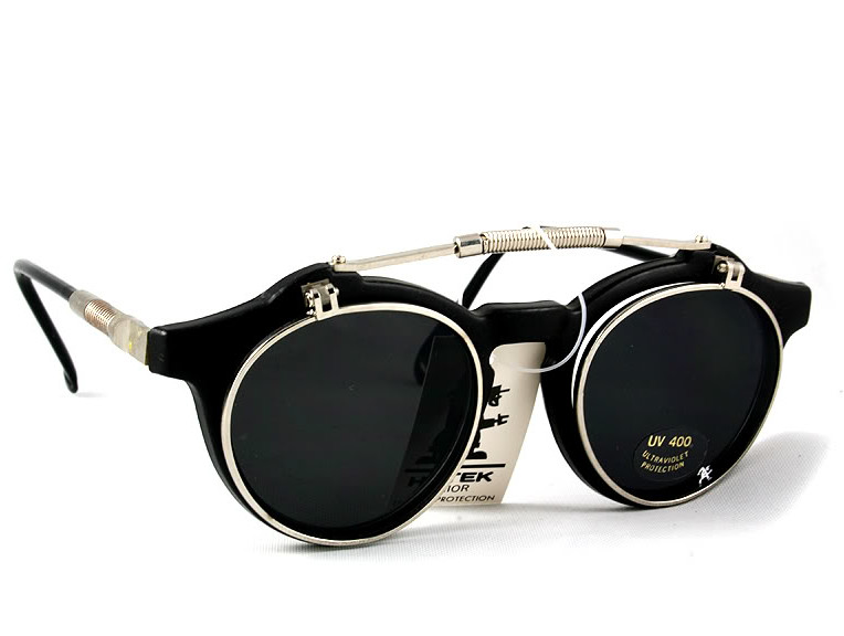 Eyeglass Frames Flip Up Sunglasses : Hi Tek round retro 1950s vintage flip up sunglasses HT-103 ...
