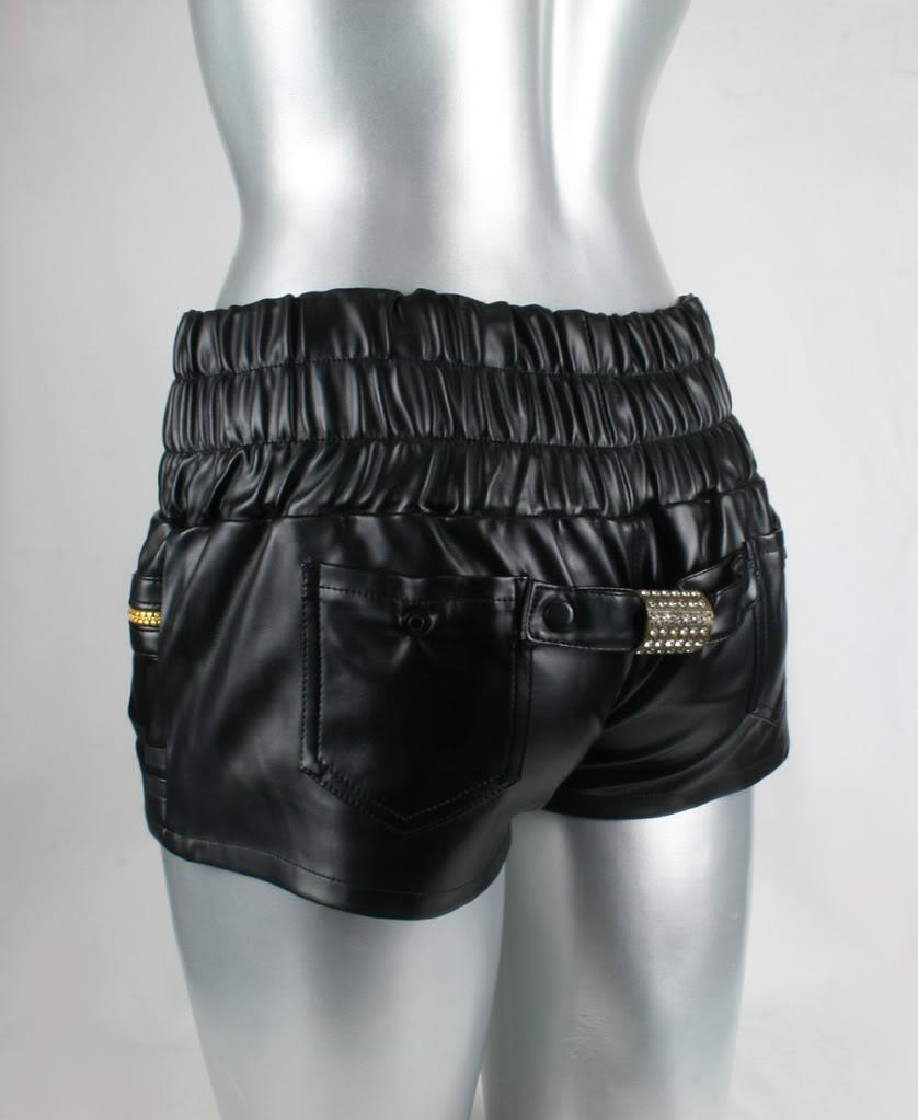 womens black vinyl & leather shorts hot pants high waist ...