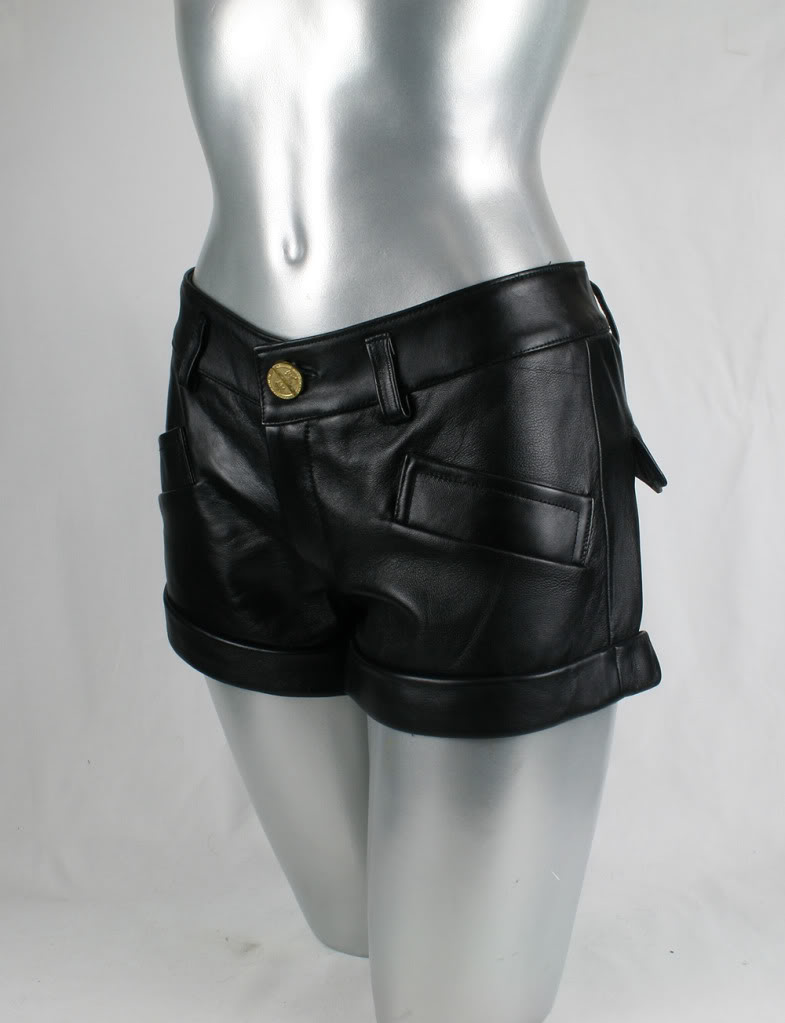 womens black leather shorts hot pants size S