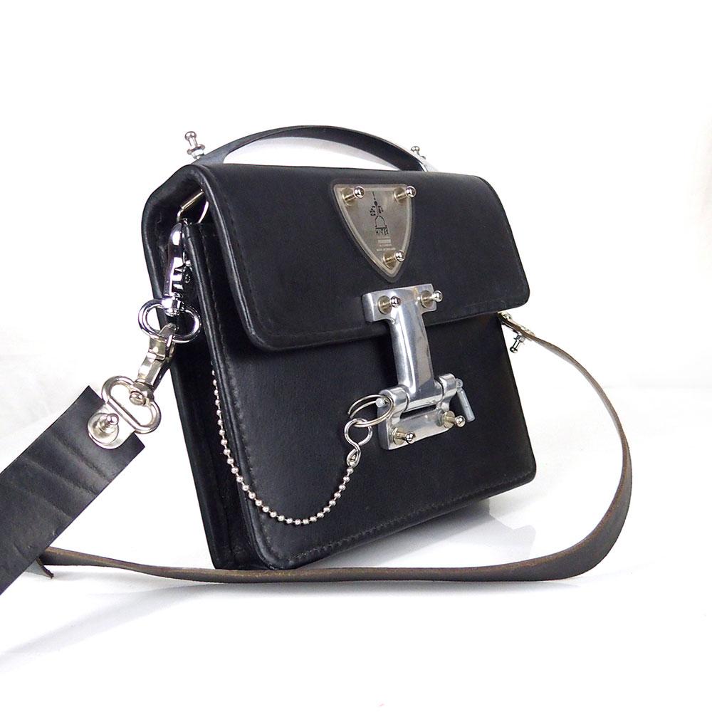 Black Leather Crossbody Bag Vintage Goth Industrial