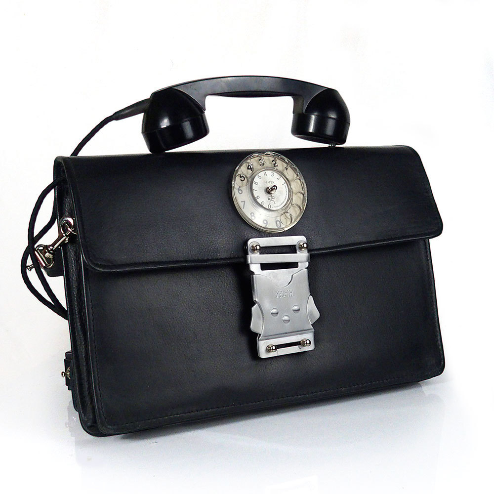 Vintage black leather briefcase unusual handle | Hi Tek