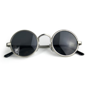 round silver metal sunglasses
