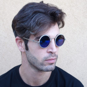 round sunglasses blue mirror lens