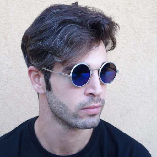 round sunglasses blue mirrored lens