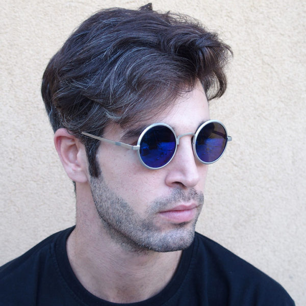 round sunglasses blue mirrored lens
