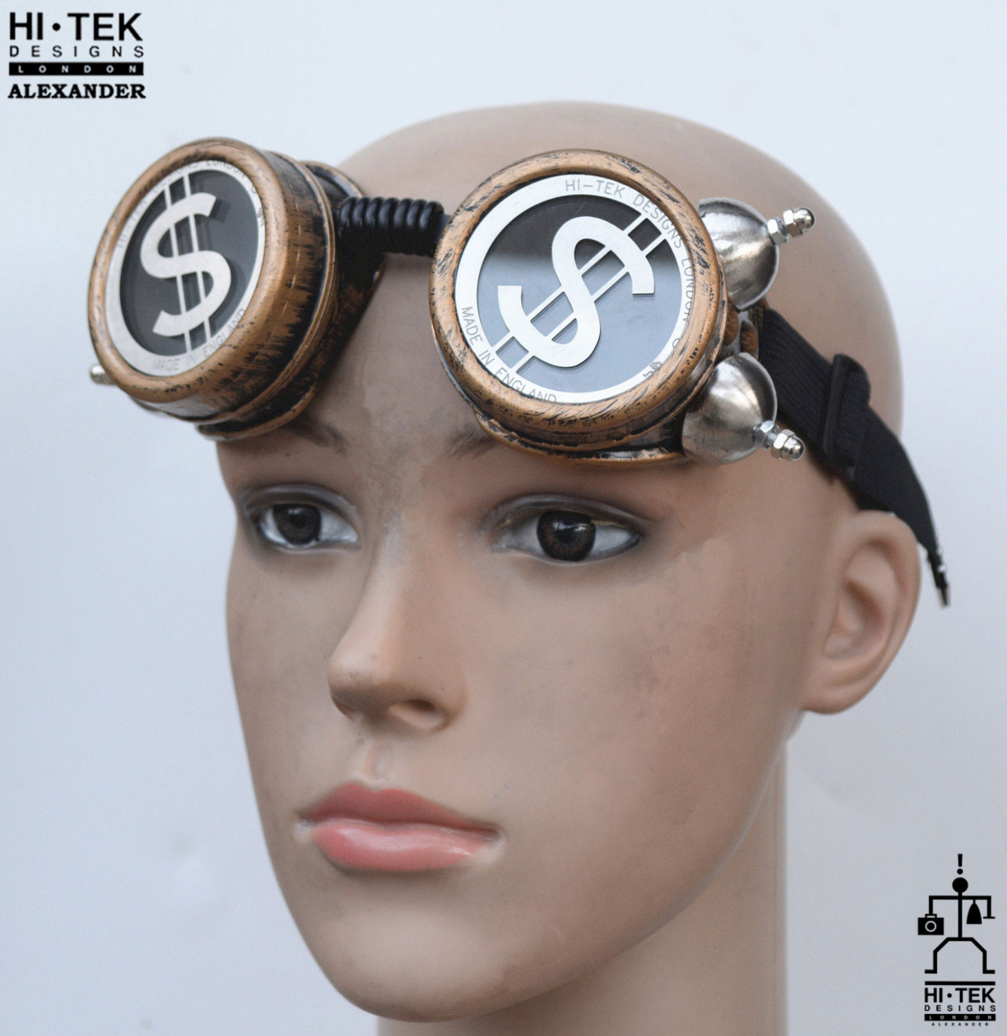 steampunk goggles weathered brass black lenses with ...