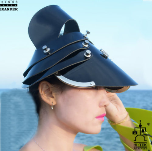 black patent visor hat