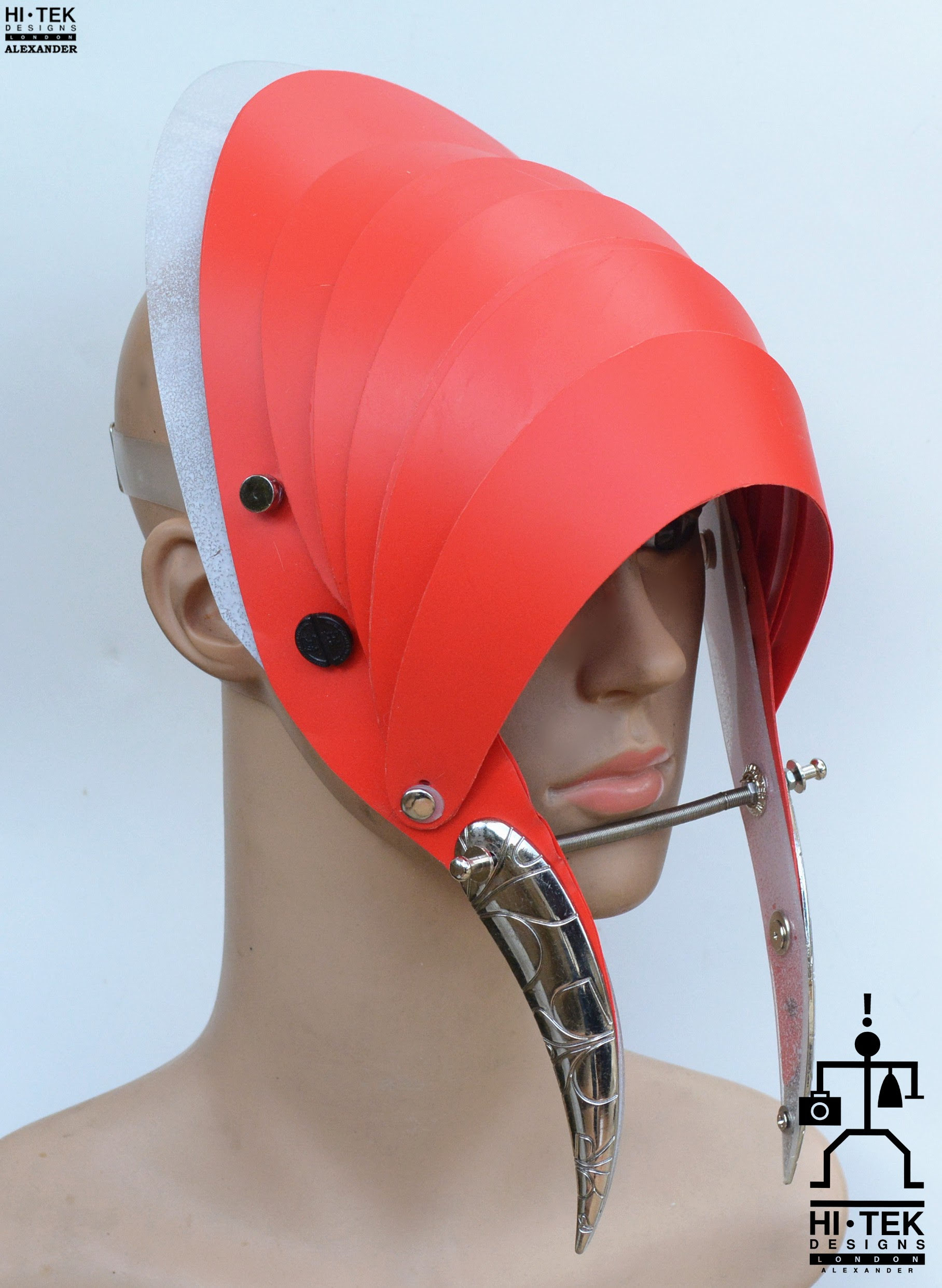 red hat mask with horns