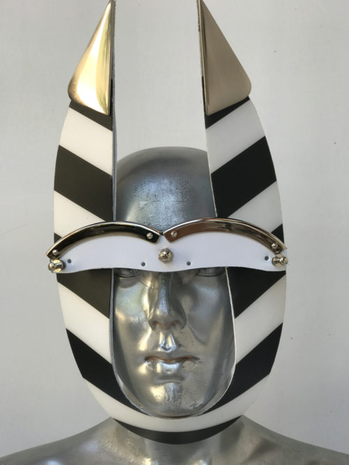 black and white mask with horns