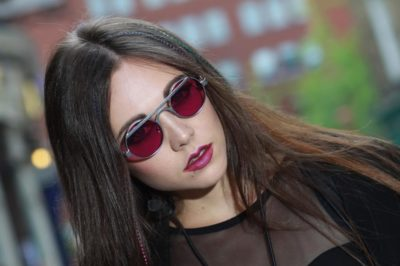 Hi Tek round silver metal sunglasses with custom pink lenses HT-4011 unusual unique