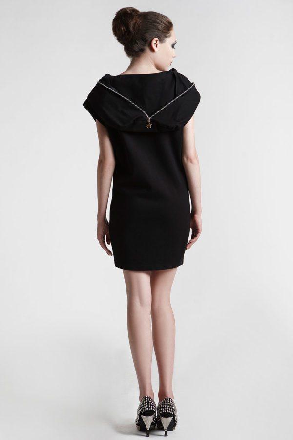 short black dress with hood in 4 way stretch lycra spandex Hi Tek