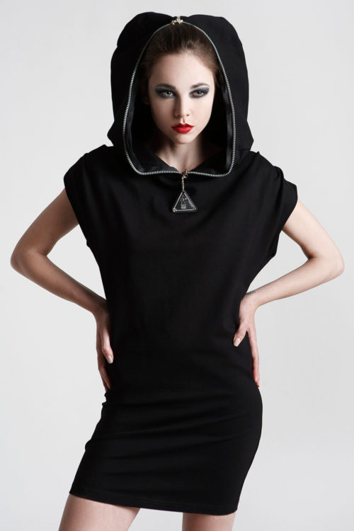 short black dress with hood