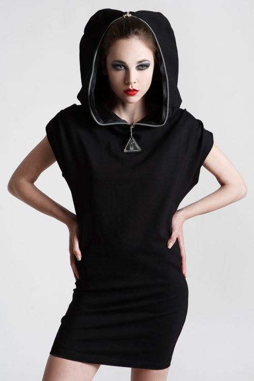 short black dress with hood
