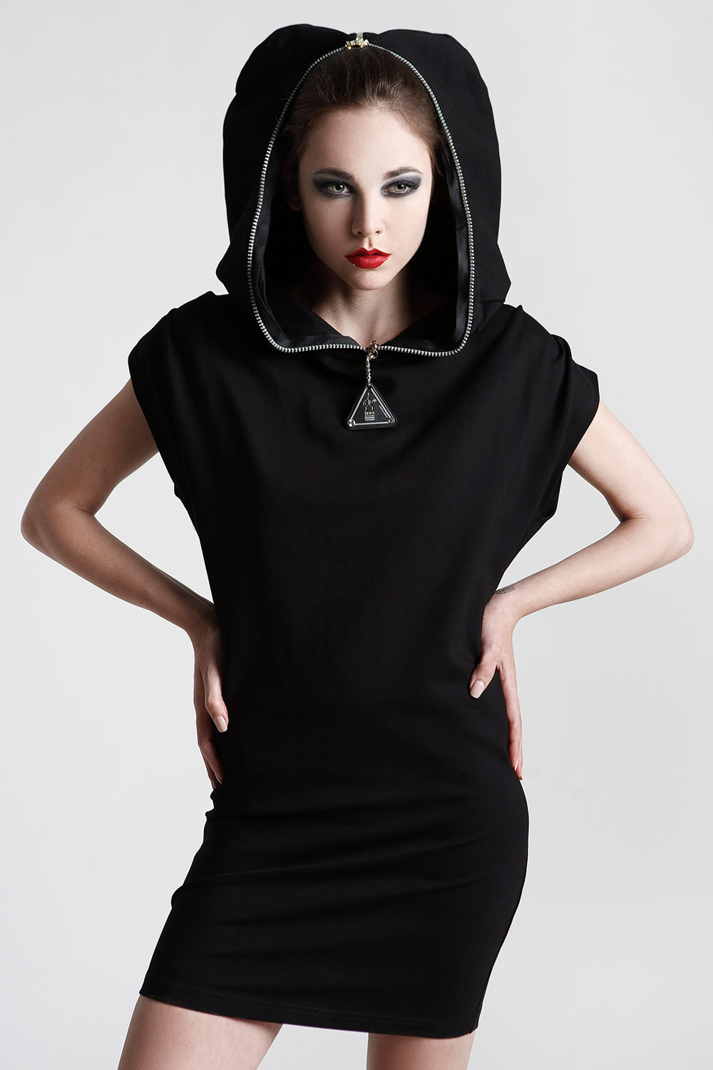 short black dress with hood in 4 way stretch lycra spandex Hi Tek