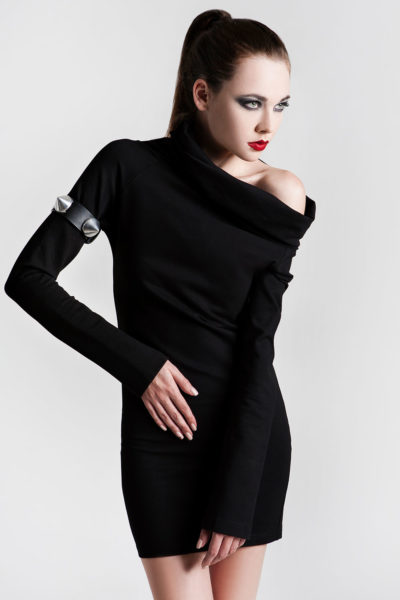 short black dress large polo neck in 4 way stretch lycra spandex Hi Tek