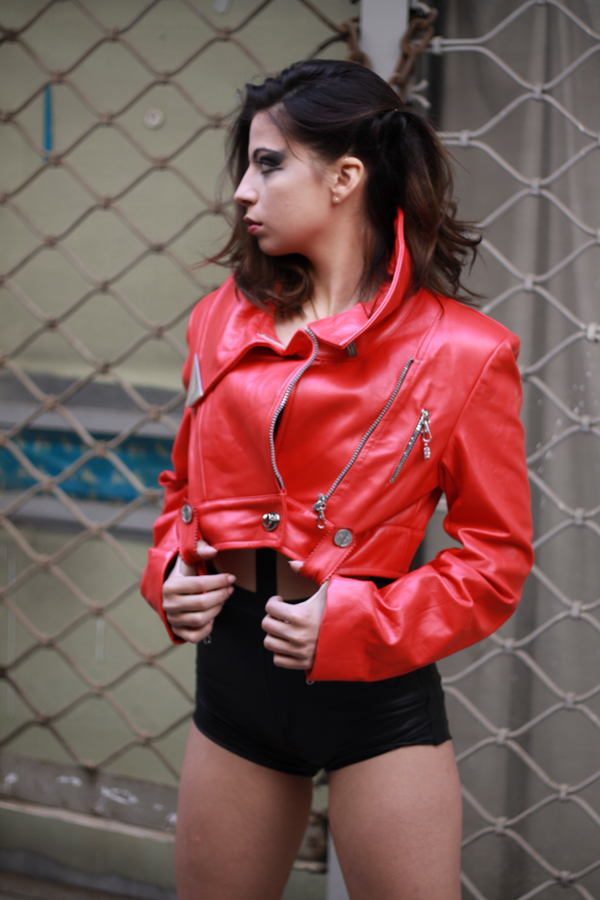 Womens Red Leather Biker Jacket Hi Tek Hi Tek Webstore