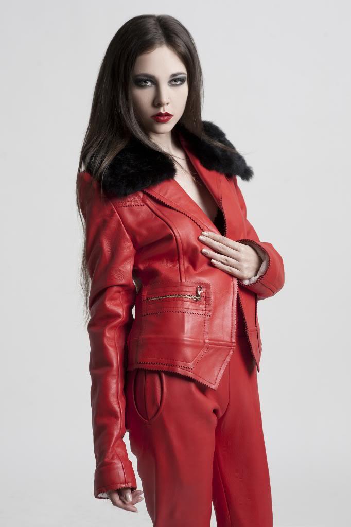 women's short fitted red leather jacket HI TEK | Hi Tek Webstore