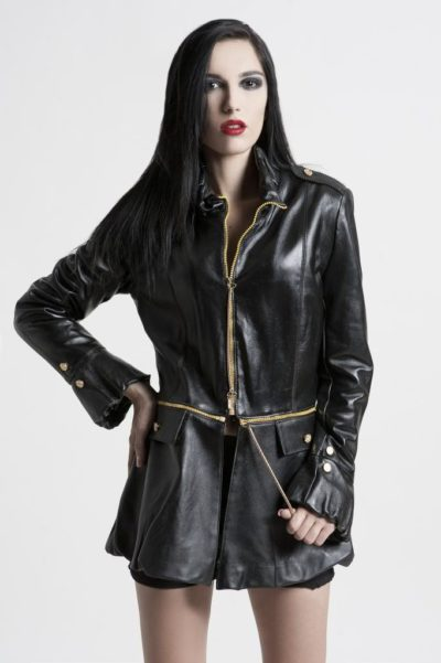 women's black leather coat jacket HI TEK