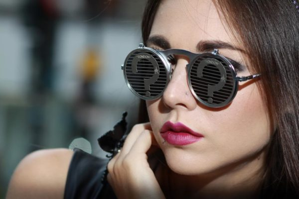 Hi Tek round metal flip up sunglasses steampunk question marks