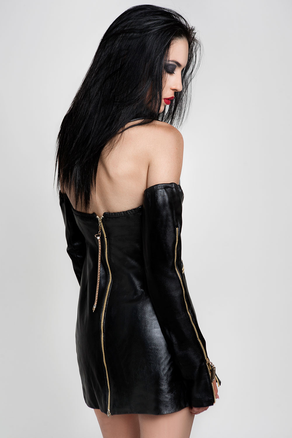 black leather halter neck dress with matching gloves