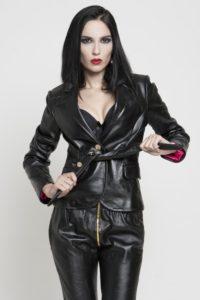 women's short fitted black leather jacket HI TEK