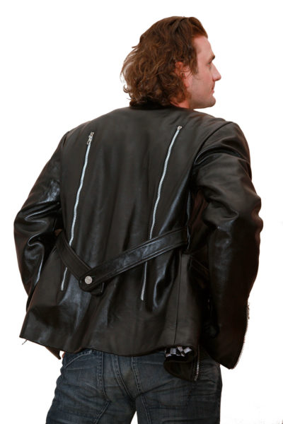 mens black leather blazer jacket zipper detail HI TEK