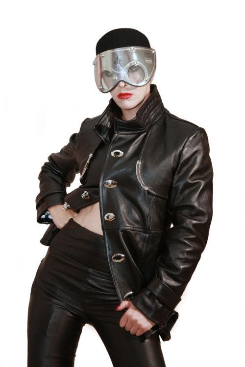 black leather coat jacket woman