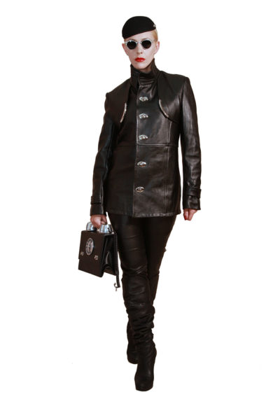 black leather coat jacket for women metal accents mid length Hi Tek