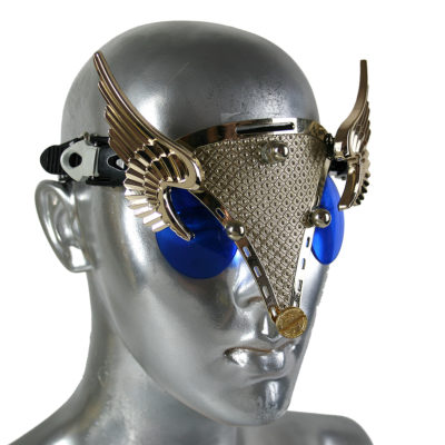 handmade futuristic modern steampunk eyewear for artists with gold angel wings