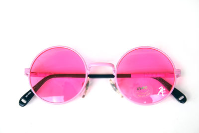 Round pink metal sunglasses