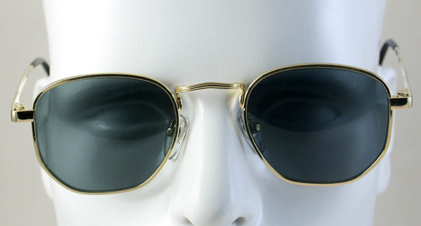 Men's round square gold metal aviator sunglasses Hi Tek model 3888