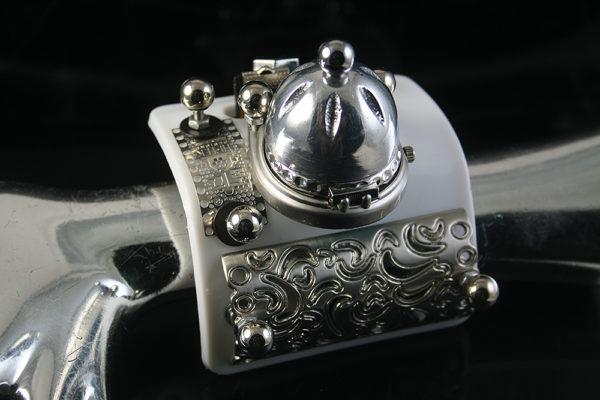 unusual design steampunk wrist watch cuff Hi Tek Alexander