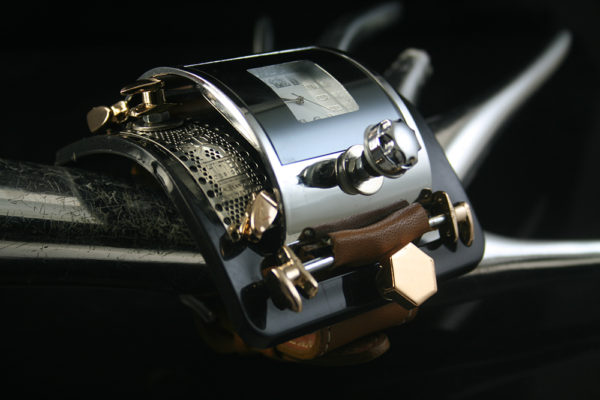 unusual design steampunk wrist watch cuff Hi Tek Alexander