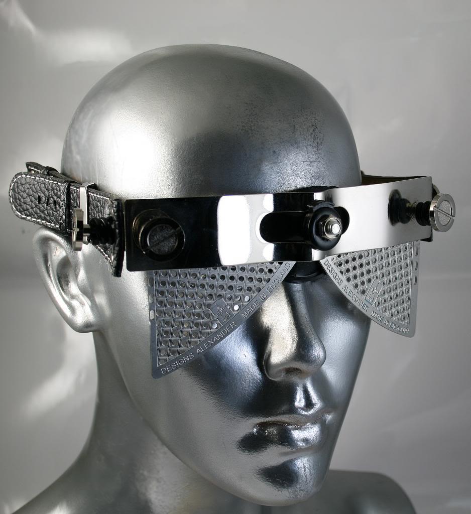 handmade futuristic steampunk eye wear sunglasses mask Hi Tek