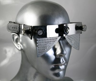 handmade futuristic steampunk eye wear sunglasses mask Hi Tek
