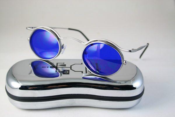 oval sunglasses silver metal blue lens HI TEK HT-5090