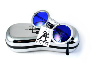 Hi Tek round silver metal sunglasses blue lens small CW-8604