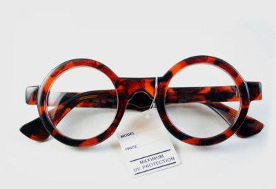 Hi Tek round tortoise plastic frame sunglasses clear lens HT-005b