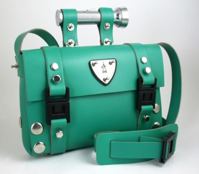 green leather shoulder bag satchel Hi Tek Alexander unusual unique