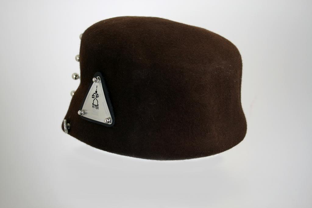brown wool felt hat Hi Tek stylish unusual unique