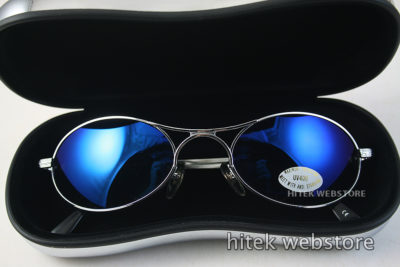 oval goggle sunglasses in silver metal with blue mirror lenses Hi Tek