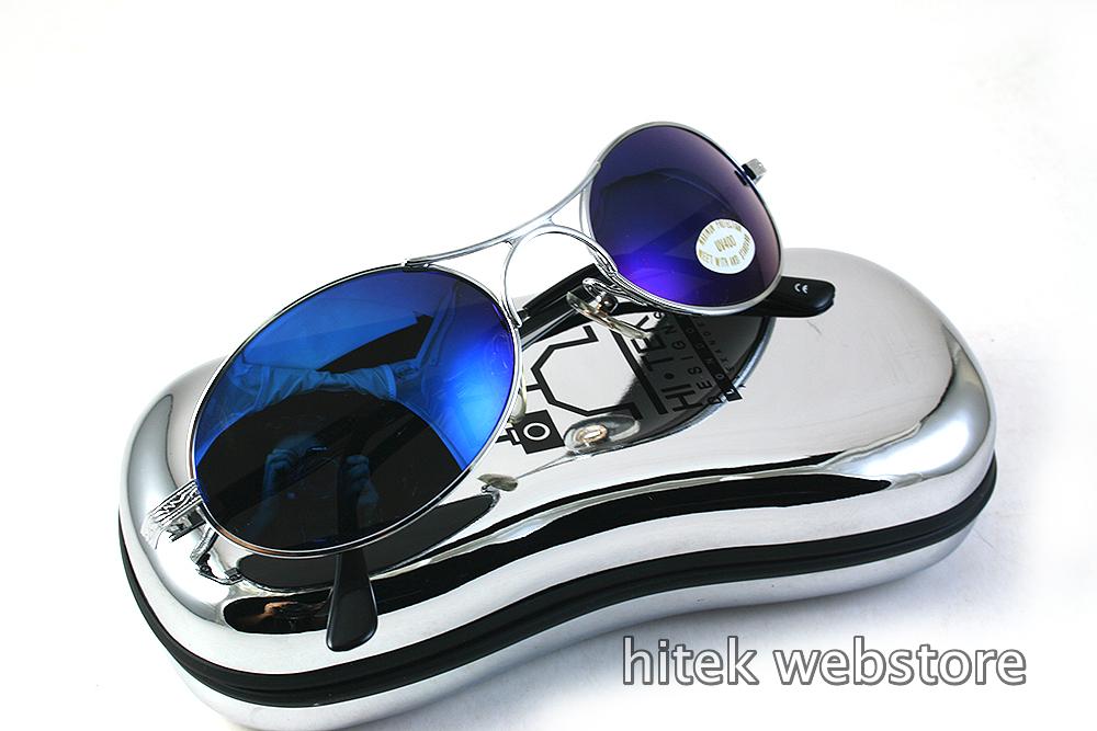 silver metal oval sunglasses with blue mirror lenses Hi Tek