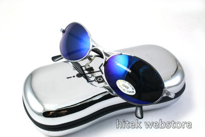 silver metal oval sunglasses with blue mirror lenses Hi Tek