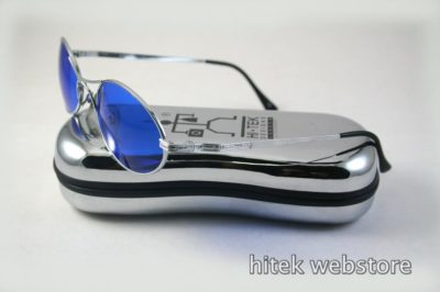 silver metal oval sunglasses with indigo blue lenses Hi Tek